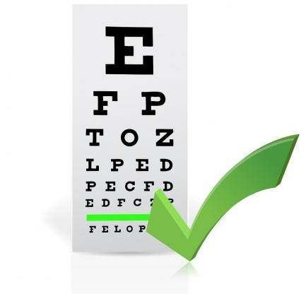 Medical Eye Chart with a checkmark. Good vision